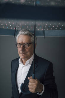 Portrait of a senior businessman holding umbrella - GUSF02545