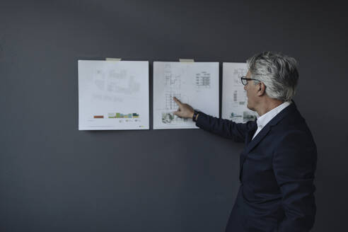 Senior businessman looking at papers hanging on the wall - GUSF02611