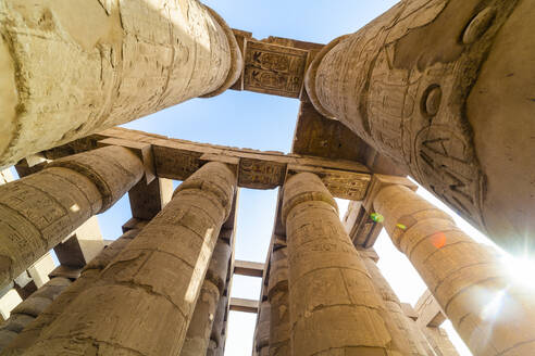 Pillars decorated with Hieroglyphics in the Great Hypostyle Hall at Karnak Temple, Thebes, UNESCO World Heritage Site, Egypt, North Africa, Africa - RHPLF10019