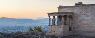 Porch of the maidens (Caryatids), Erechtheion, Acropolis at sunset, UNESCO World Heritage Site, Athens, Attica Region, Greece, Europe - RHPLF10399
