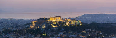View over Athens and The Acropolis, UNESCO World Heritage Site, at sunset from Likavitos Hill, Athens, Attica Region, Greece, Europe - RHPLF10402