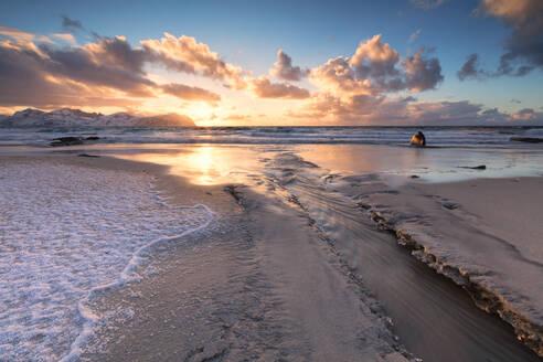 Ice on sand beach, Vikten, Flakstad municipality, Lofoten Islands, Nordland, Norway, Europe - RHPLF10580