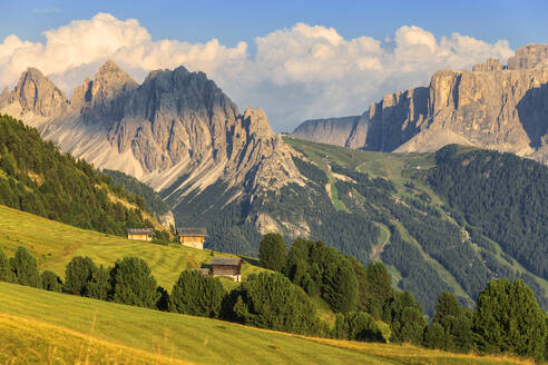 Traditional huts with Cir Group and Sella group in the background, Ortisei, Gardena Valley, South Tyrol, Dolomites, Italy, Europe - RHPLF10897