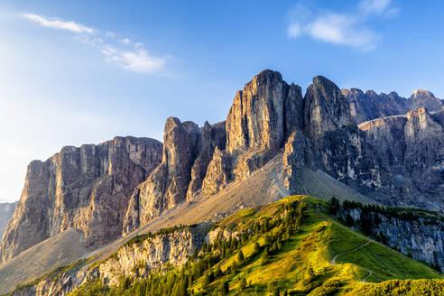 Sella Mountain Range, Gardena Pass, Gardena Valley, South Tyrol, Dolomites, Italy, Europe - RHPLF10903