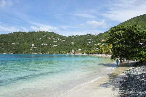 Scenic view of Brewers bay against sky, Tortola, Virgin Islands - RUNF03127