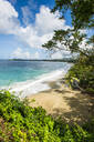 Scenic view of Turtle beach against sky at Tobago, Caribbean - RUNF03174