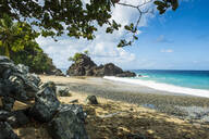 Scenic view of Turtle beach against blue sky at Tobago, Caribbean - RUNF03177