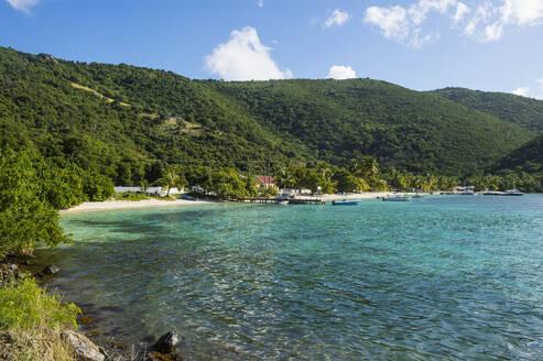 Scenic view of Jost Van Dyke island sunny day, British Virgin Islands - RUNF03195