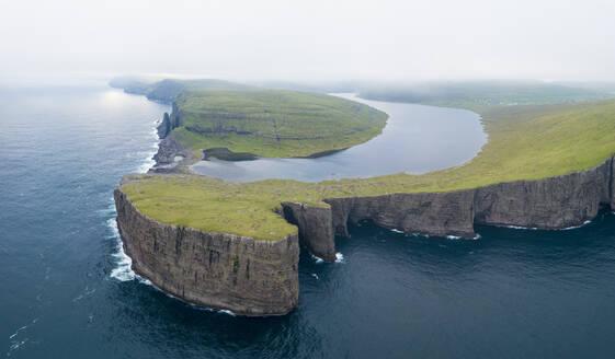 Lake Leitisvatn (Sorvagsvatn) on cliffs above the ocean, Vagar island, Faroe Islands, Denmark, Europe - RHPLF11612