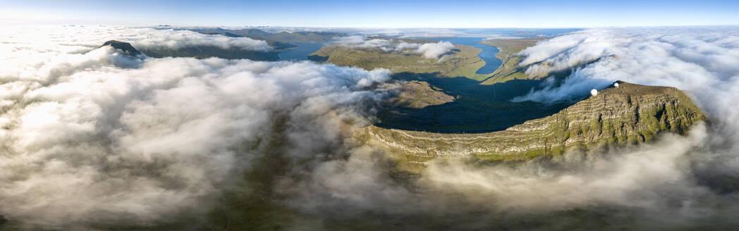 Aerial panoramic of Skaelingsfjall mountain and radar station on Sornfelli peak, Streymoy island, Faroe Islands, Denmark, Europe - RHPLF11615