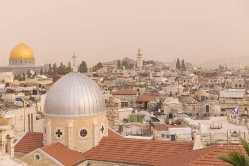 View of Dome of the Rock and the Old City, UNESCO World Heritage Site, Jerusalem, Israel, Middle East - RHPLF11863