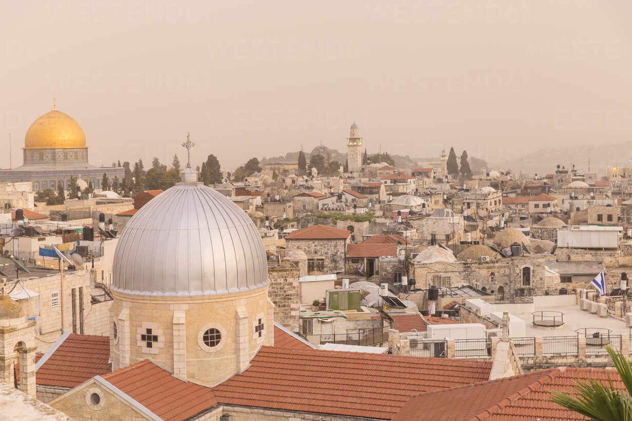 View of Dome of the Rock and the Old City, UNESCO World Heritage Site, Jerusalem, Israel, Middle East - RHPLF11863 - RHPL/Westend61
