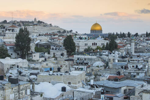View over Muslim Quarter towards Dome of the Rock, Jerusalem, Israel, Middle East - RHPLF11869