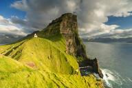 Kallur lighthouse, Kalsoy island, Faroe Islands, Denmark, Europe - RHPLF12112