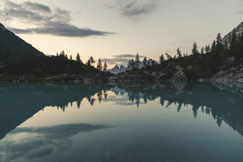 Lake Sorapis at sunset in Cortina d'Ampezzo, Italy, Europe - RHPLF12223