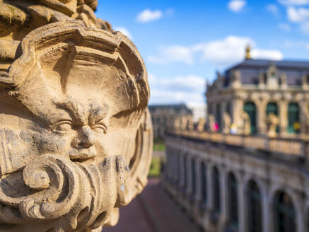 Close-up of statue at Zwinger palace against sky in Dresden, Germany - LAF02374