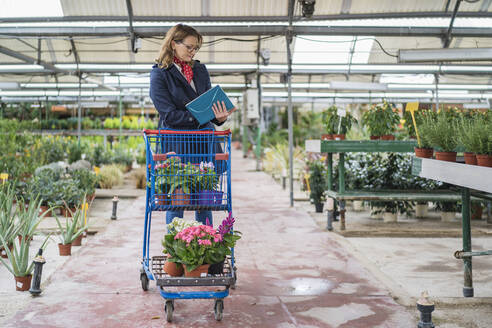 Woman buying flowers in plant nursery - DLTSF00175
