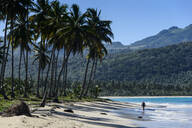 Palm trees growing at beach against mountains, Playa Rincon, Dominican Republic - RUNF03276