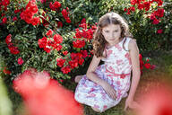 Portrait of girl wearing summerdress with floral design sitting on a meadow beside red rosebush - STBF00415
