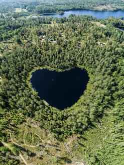 Heart-shaped lake surrounded by forest - JOHF01460