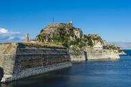 Old fort against blue sky in Corfu town, Ionian islands, Greece - RUNF03328