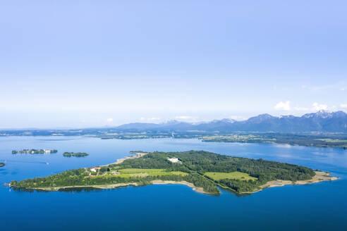 Germany, Bavaria, Aerial view of Herreninsel island on Chiemsee lake - MMAF01146
