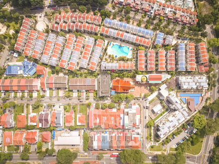 Aerial view of residential houses in Singapore - AAEF03781