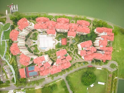 Aerial view of residential buildings close to marina bay in Singapore - AAEF03784