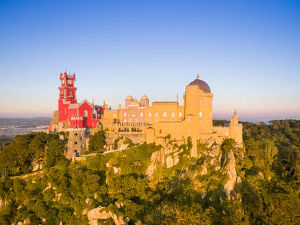 Aerial view of park and National palace of Pena, Portugal - AAEF04171