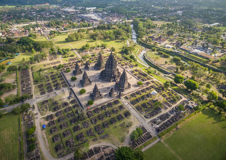 Aerial view of people visiting a preserved archaeological ruin, Yogyakarta, Indonesia - AAEF04276