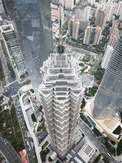Aerial view of Shanghai's Jin Mao building from above, China. - AAEF04468