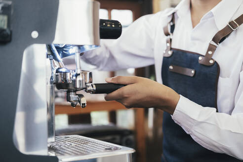 Barista coffee cafe making coffee preparation service. - CAVF63511