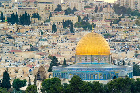 Dome of the Rock and buildings in the Old City at sunset, Jerusalem - CAVF64507