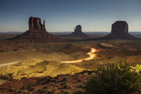 Vehicle lights captured through a long exposure at Monument Valley, AZ - CAVF64558