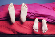 Feet of two sisters lying in bed - XCF00265
