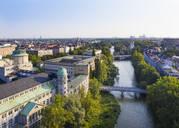 Germany, Bavaria, Upper Bavaria, Munich cityscape with Deutsches Museum, Mullersches Volksbad, Ludwig bridge on Isar river - SIEF09116