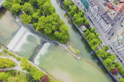 Germany, Bavaria, Munich, Aerial view of Isar river in summer - MMAF01168