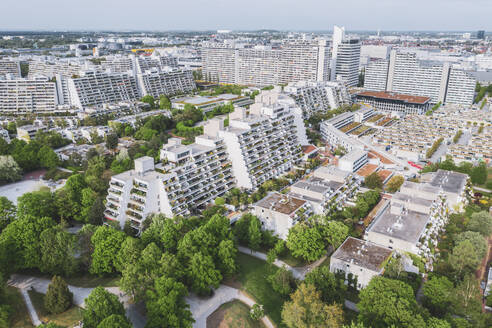 Germany, Bavaria, Munich, Aerial view of Olympic Village in summer - MMAF01174