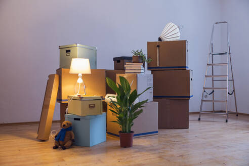Cardboard boxes in an empty room in a new home - MAMF00798
