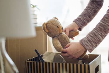 Close-up of woman unpacking cardboard box in new home taking out teddy bear - MAMF00837