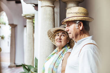 Senior tourist couple in a village, El Roc de Sant Gaieta, Spain - MOSF00038