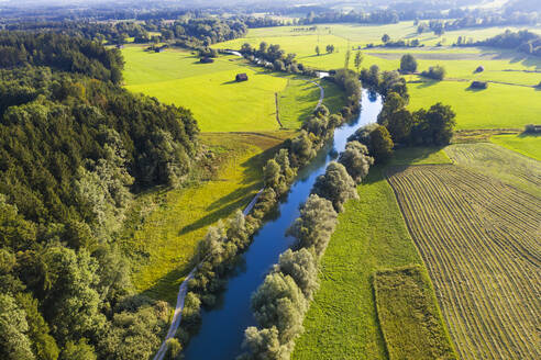 Germany, Bavaria, Beuerberg, Aerial view of Loisach river surrounded by countryside fields - SIEF09142