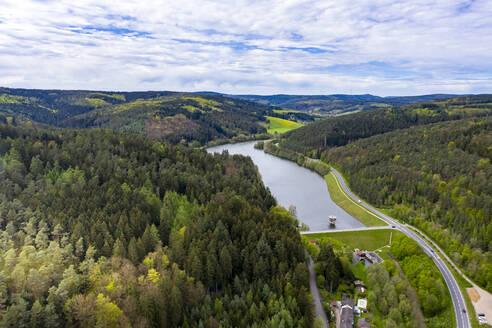 Luftaufnahme, Marbachstausee, Erbach, Himbachel-Tal, Odenwald, Hessen, Deutschland - AMF07348