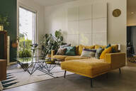 Indoor shot of hygge or scandi style couch in living room, Cologne, Germany - MFF04864