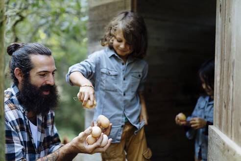 Father with two kids collecting eggs at chicken coop on an organic farm - SODF00095