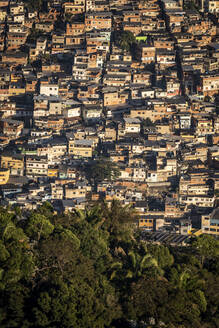View to poor residential ghetto homes in Morro do Borel favela slum - CAVF65192