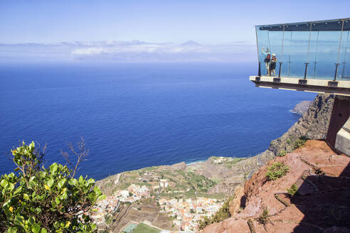 Mirador de Abrante, Aussichtspunkt, Blick auf Agulo, La Gomera, Kanarische Inseln, Kanaren, Spanien - MAMF00888