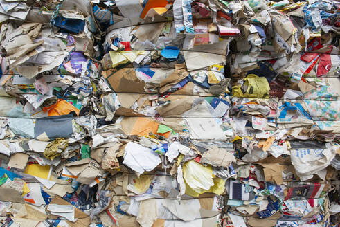 Germany, Bavaria, Stacks of waste paper and cartons - LHF00730