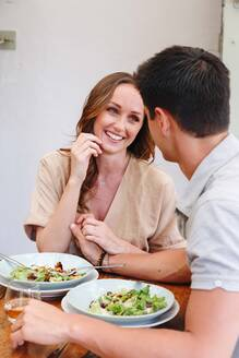 Couple having salad lunch - ISF22267