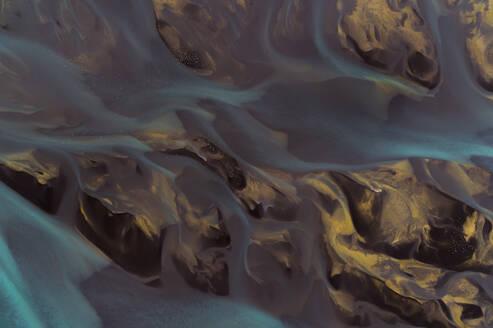 Glacial rivers meeting ocean water in Northern Iceland. - AAEF04594